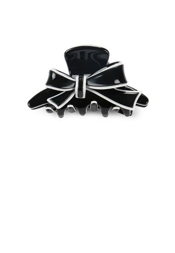 Glamorousky silver Fashion and Elegant White Border Ribbon Black Large Hair Claw AB68CAC7BB0AD2GS_1