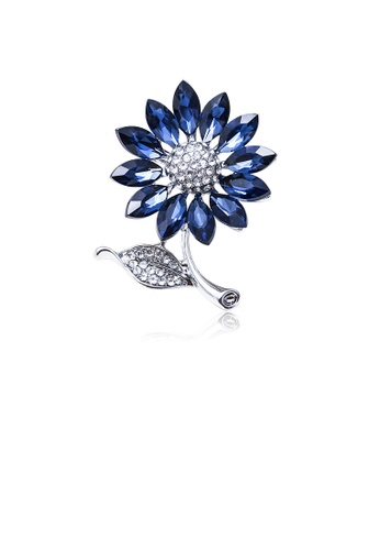 Glamorousky white Fashion and Elegant Flower Brooch with Blue Cubic Zirconia 5BDE9ACE264E0BGS_1