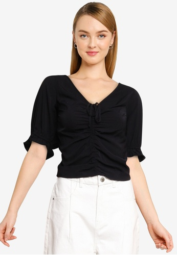 Abercrombie & Fitch black Cinch Front Puff Sleeve Top 5621AAA362076FGS_1