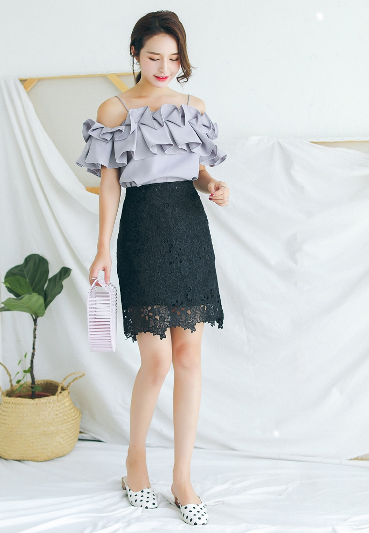 Black Skirt in Mini Black Shopsfashion Lace 4waqXX
