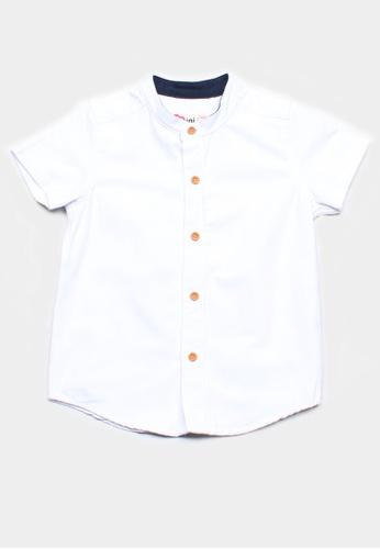 Mini Moley white Brushed Cotton Classic Mandarin Collar Boy's Short Sleeve Shirt 8D300KAD640285GS_1