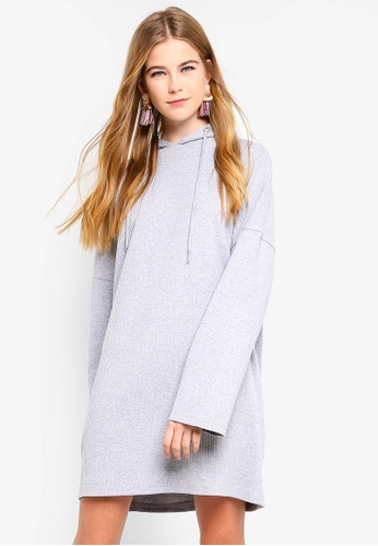 36c0d165064 MISSGUIDED grey Oversized Hooded Ribbed Sweater Dress EACACAAE362D0FGS 1