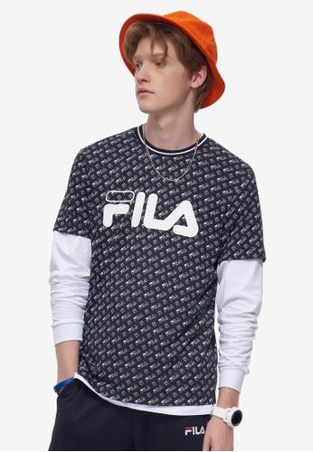 FILA navy Logo Tee With All Over Print 784D9AAE214E58GS_1