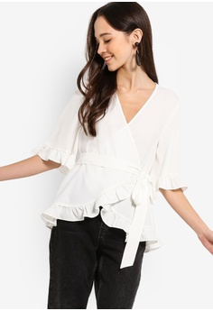 dbaa5cba3e Something Borrowed white Self Tie Wrap Ruffles Top FA871AA58D6CFAGS 1