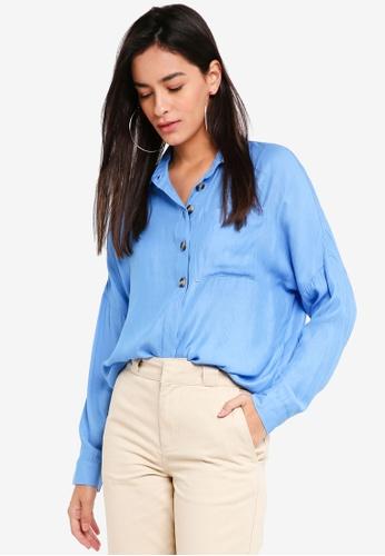 TOPSHOP blue Lightweight Casual Shirt 497A2AA779653BGS_1