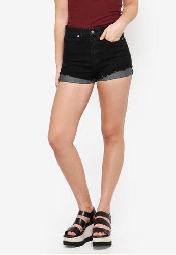 Something Borrowed black Turn Up Denim Shorts 1E975AAF1D7BA0GS_1