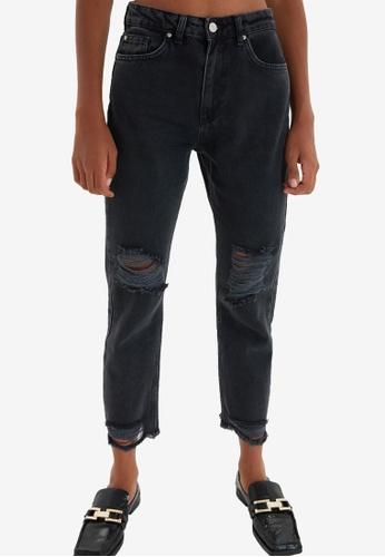 Trendyol black Ripped Straight Leg Jeans E5A73AA34377FEGS_1