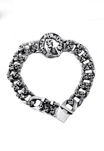 LYCKA silver J171079 316L Titanium Steel Skull Bracelet - Silver LY529AC0GYBXSG_1
