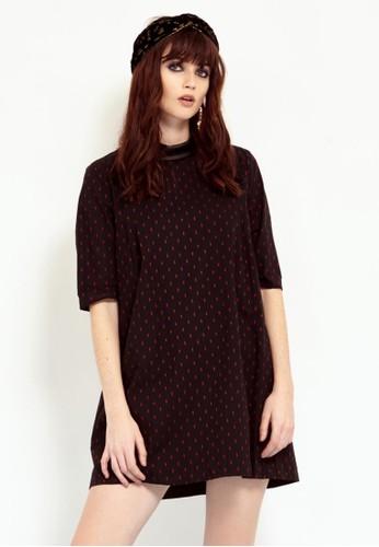 皮革拼接五分袖洋裝,esprit au 服飾, 短洋裝