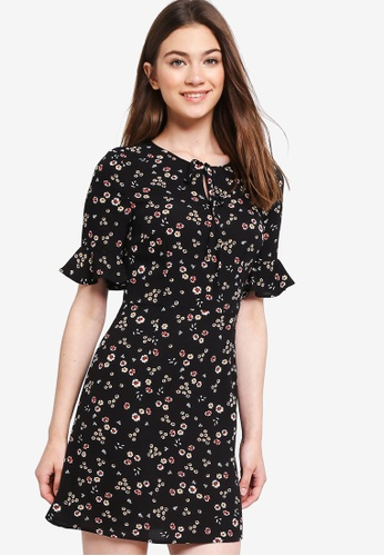 Something Borrowed black Flutter Sleeves Fit And Flare Dress 9D59DAA8658759GS_1