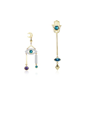 Glamorousky blue 925 Sterling Silver Fashion Devil's Eye and Lucky Hand Asymmetric Earrings with Austrian Element Crystal 07723AC3AA61E9GS_1