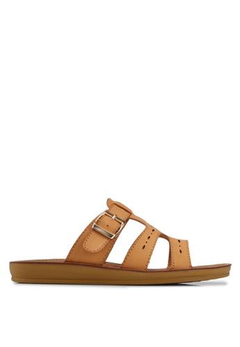 Noveni brown Tristrap Sandals DEF49SH3CA314BGS_1