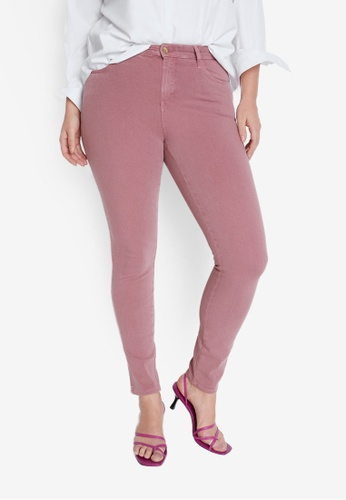 Violeta by MANGO pink Plus Size Bi Stretch Push Up Irene Jeans 486FAAA259B363GS_1