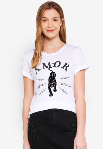 Guess white Amor Panther Graphic Short Sleeve Tee 74E58AAD5DA03AGS_1