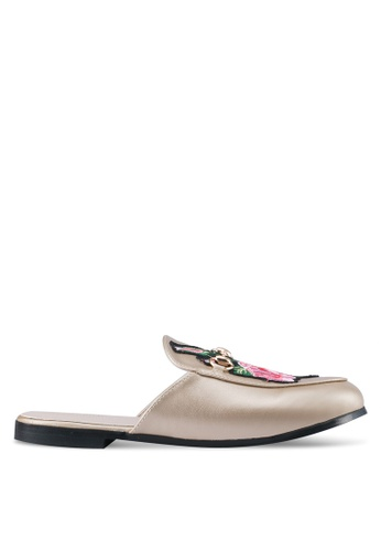 addicts anonymous gold Leah Flower Embroidery Mules Flats AD479SH0SR61MY_1