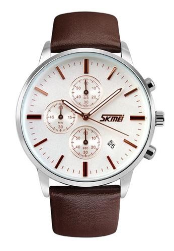 Skmei brown SKMEI 9103 Men's Quartz Calendar Stopwatch Leather Watch (Brown White) SK707AC0RXE4MY_1
