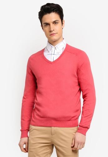 Brooks Brothers pink Red Fleece Cotton Cashmere V-Neck Garnet Rose Cardigan 21E00AA7B8FCF0GS_1