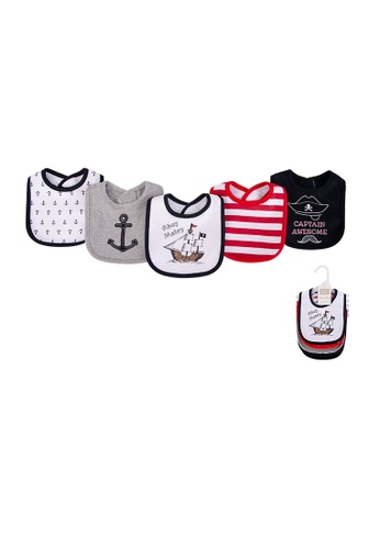 Little Kooma grey and white and red Baby 5pc Interlock Bibs Set 5pc 52062 - 0821 37391KC917A0A1GS_1