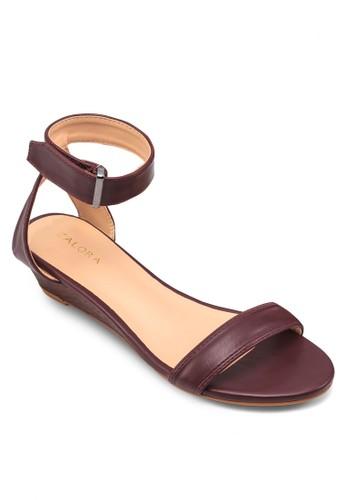 繞踝楔形低跟涼鞋,zalora 包包 ptt 女鞋, 鞋