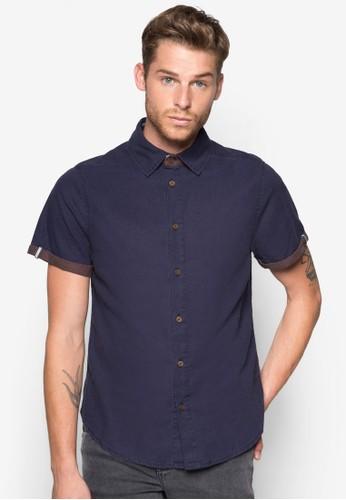 Gabriel 反褶短袖襯衫, 服飾,esprit門市地址 素色襯衫