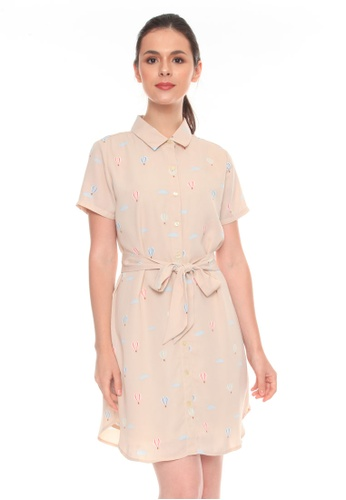 Paperdolls beige Renee Mini Shortsleeves Dress 4BD62AA1E357EDGS_1