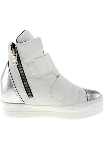 Maxstar silver Maxstar Women's C2 Dual Velcro Studed Hidden Heel PU High Top Sneakers US Women Size MA164SH58PZTSG_1