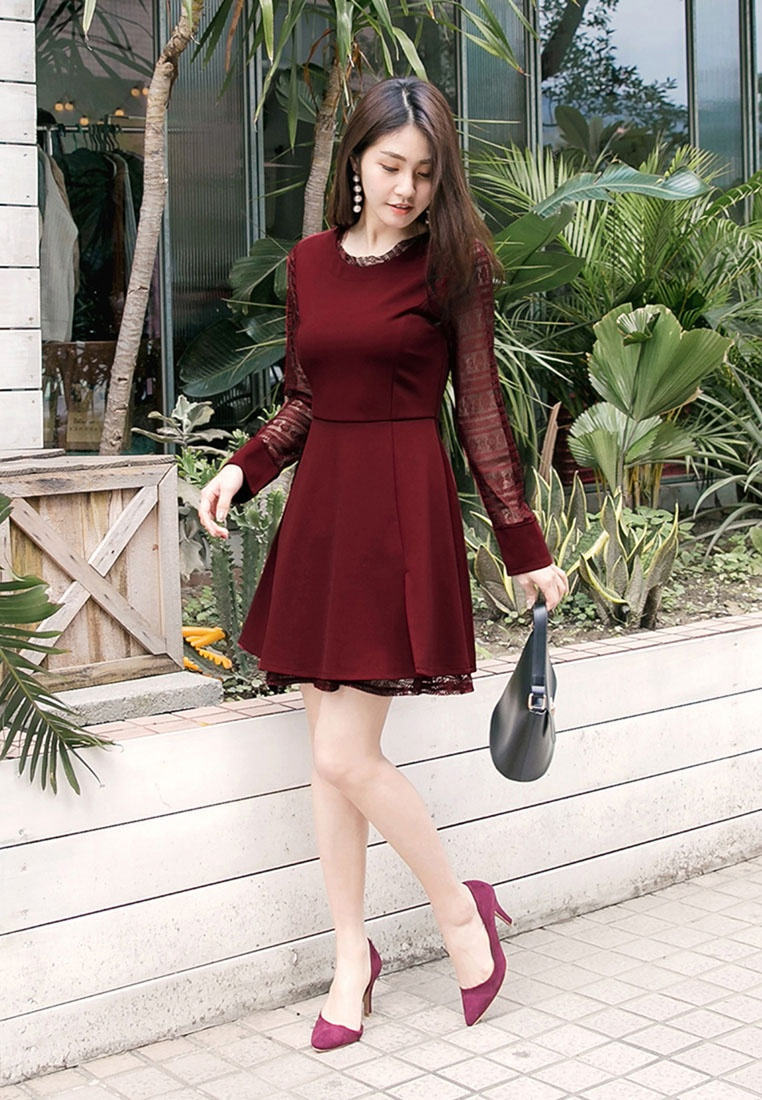 Skirt Red with A Lacy Sleeves Line Tokichoi Hwn65Pq