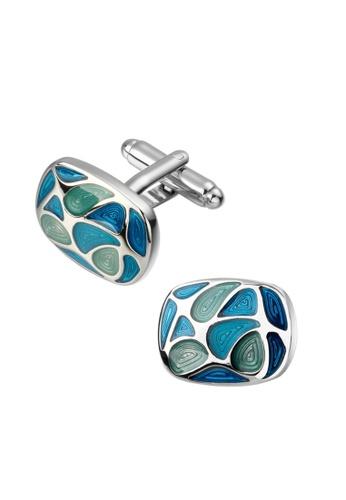 Kings Collection blue Enamel Cufflinks CF1B0AC3E46348GS_1