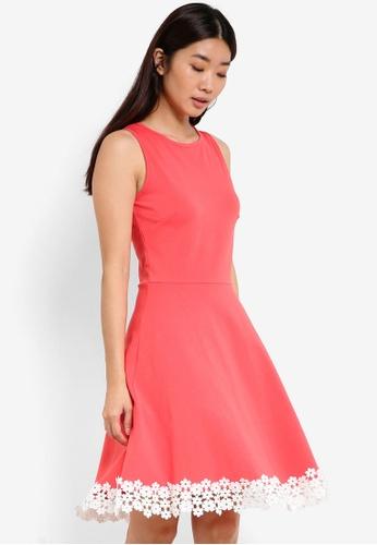 Dorothy Perkins pink Lace Trim Hem Dress DO816AA09SYCMY_1
