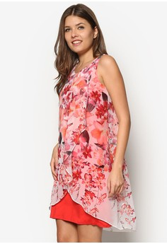Petite Coral Floral Overlayer Dress
