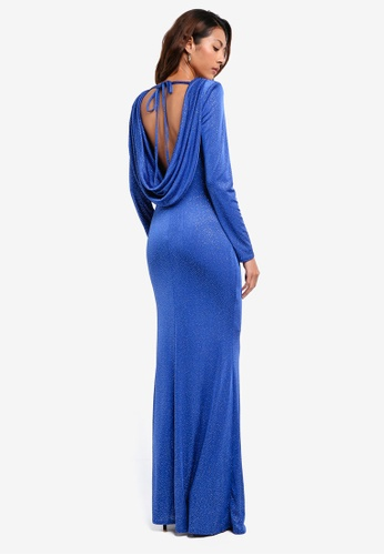 Goddiva blue Glitter Cowl Back Maxi Dress With Sleeves 0361AAADADB54EGS_1