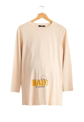 LC Waikiki beige Maternity Witty Cotton T-Shirt 9E69AAA8287648GS_1