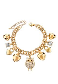 Heart, Owl & Lovelock Charm Bracelet by ZUMQA