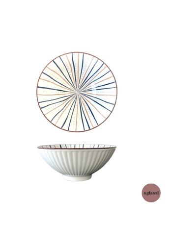 &glazed white and blue &Glazed Ren 7.8-inch medium round bowl Lines EAF54HL4D17908GS_1
