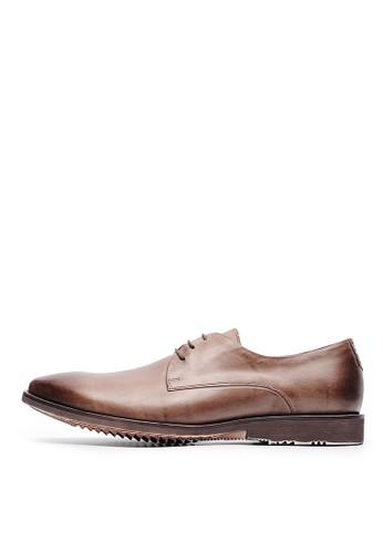 簡約輕量。頭層打蠟牛皮esprit hk印花皮鞋-04513-咖啡, 鞋, 皮鞋