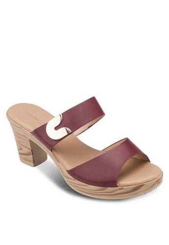 雙帶粗跟涼鞋,zalora 泳衣 女鞋, 鞋