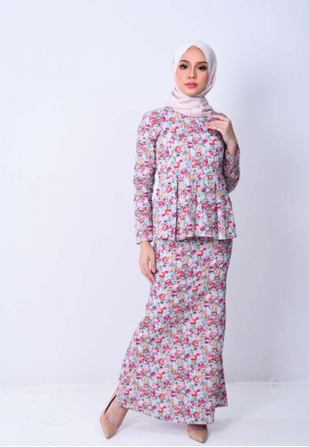 Naura Shasmeen Kurung Modern from KAMDAR in Pink and Blue