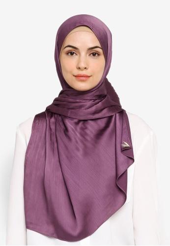 VERCATO purple Pallure Premium Pleated Allure Satin Shawl 4E903AA95B2C8CGS_1