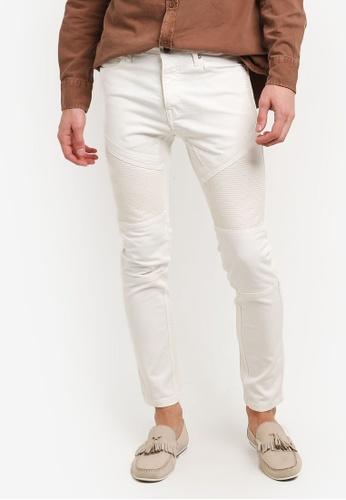 Topman beige Off White Biker Stretch Skinny Jeans TO413AA0RUWJMY_1