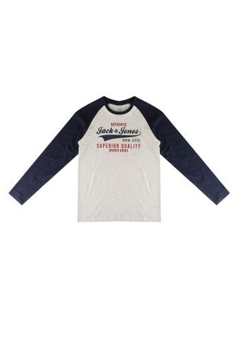 Jack & Jones navy Raglan Logo Long Sleeves Tee F915DKAD345D99GS_1