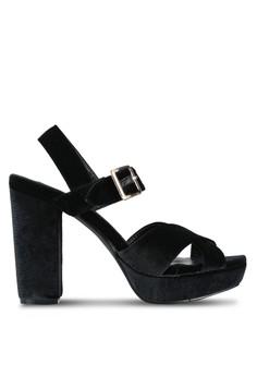 【ZALORA】 絨 Platform Block 高跟鞋