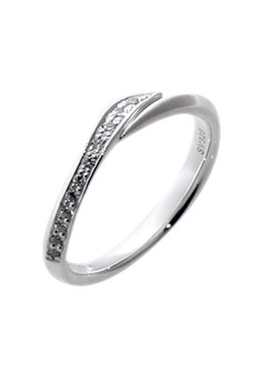 Twist Silver Ring with Artificial Diamonds for Women lr0020f