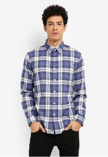Abercrombie & Fitch navy Washed Plaid Shirt 39443AABBB48F1GS_1