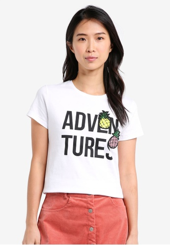ZALORA white Printed Tee With Pineapple Patch 58827AAE21AAF1GS_1