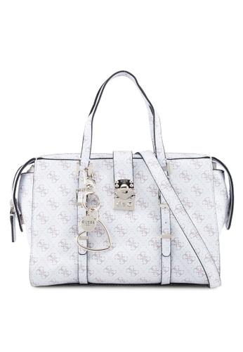 Guess white Joslyn Satchel Bag 5F653AC22B8176GS_1