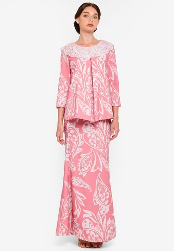 Clara Peterpan Collar Kurung from Rizalman for Zalora in white and Pink
