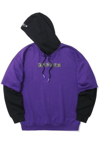 """Fivecm black """"BROKEN"""" layered sleeve hoodie 84819AAC74DF0BGS_1"""