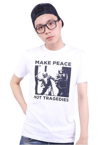 Praise white Make Peace Graphic Tee PR067AA0GMAWSG_1