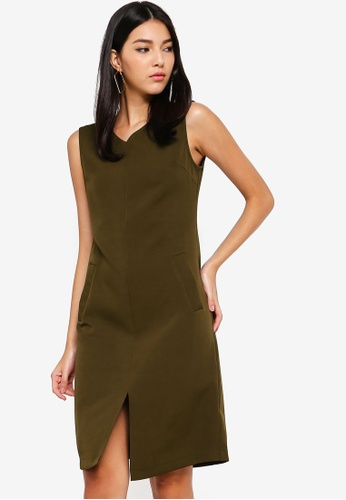 ZALORA green V-Neck Dress With Front Slit 4D8C4AA50D24C0GS_1
