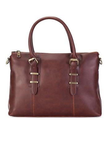 Lara brown Plain Zipper Briefcase With Cross Body Strap - Brown E94F0AC056E843GS_1